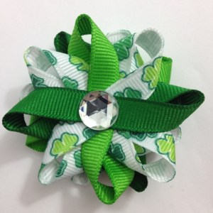 Shamrock st Patricks day Hair Bows