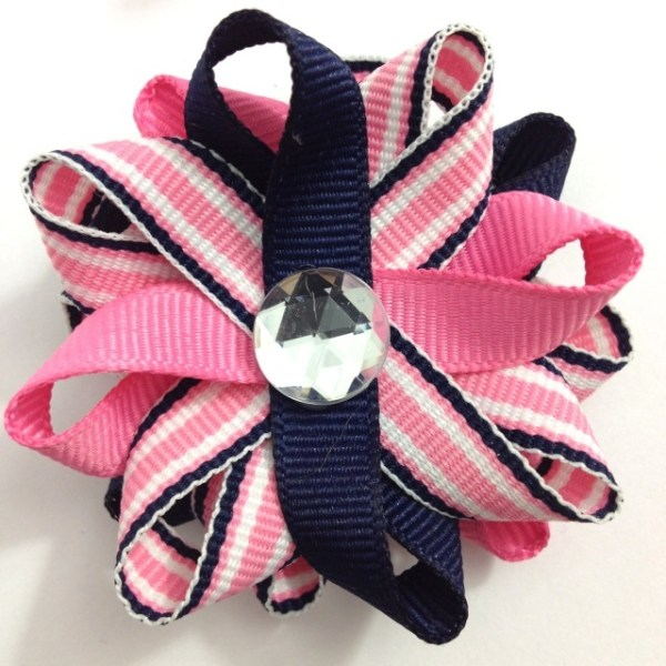navy Blue Pink Stripe Hair Bows