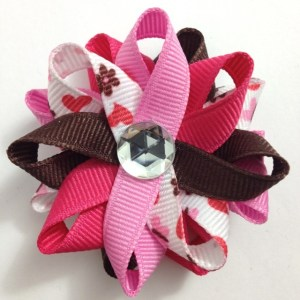 pink butterfly hearts hair bows
