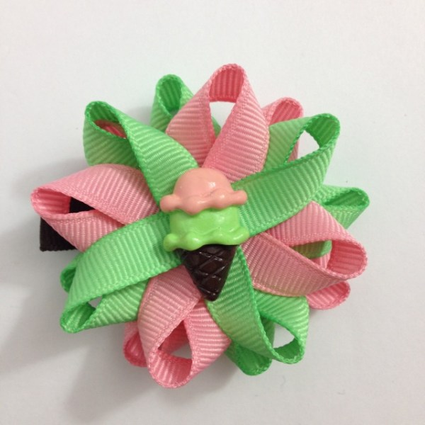 Pink Mint Ice Cream Cone Hair Bows
