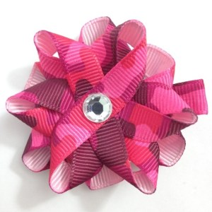 Pink Camouflage Hair Bows