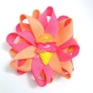 Yellow Ice Cream Cone Hair Bows