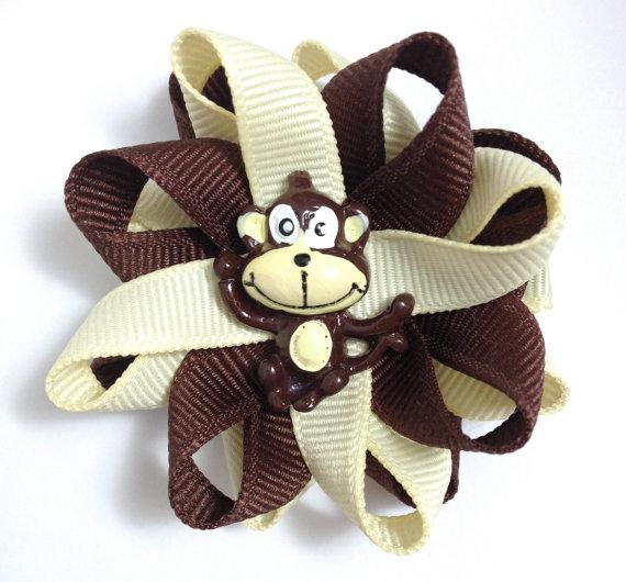 brown monkey handmade hair bows