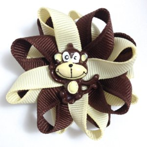 brown monkey handmade hair bows
