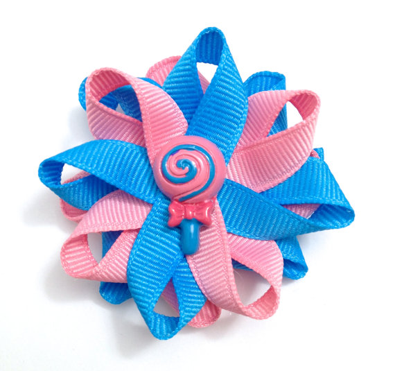 blue rose lollipop hair bows