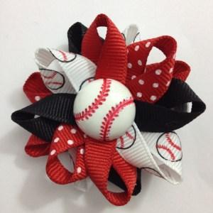 red black Baseball Hair Bows
