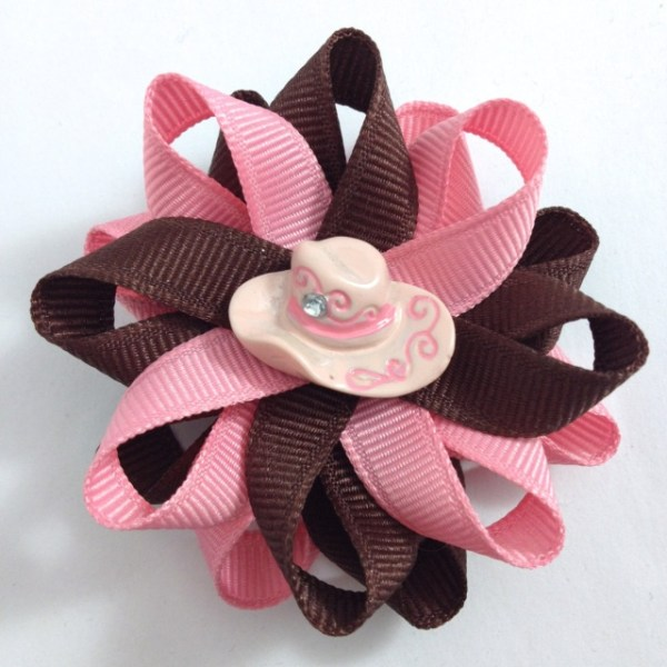 Pink Cowgirl Hat Hair Bows