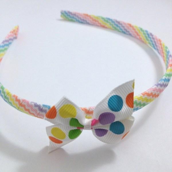 Pastel Dots Pinwheel Bow Headband