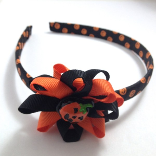 Jack-O-Lantern Hair Bow Headband