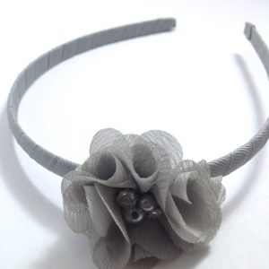 Silver Grey Chiffon Flower Headband