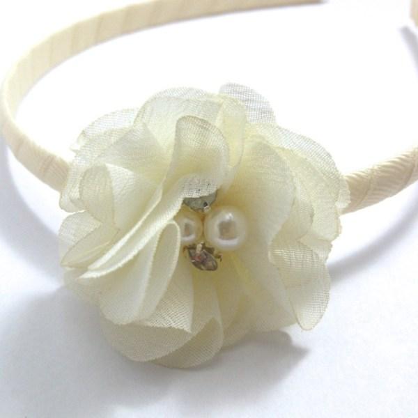 Ivory Chiffon Flower Headband