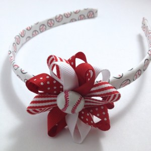 Baseball Hair Bow Headband