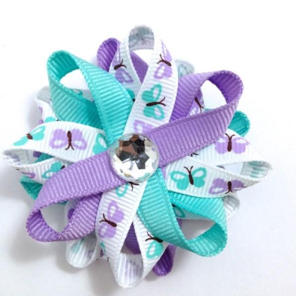Aqua Lavender Butterfly Hair Bows