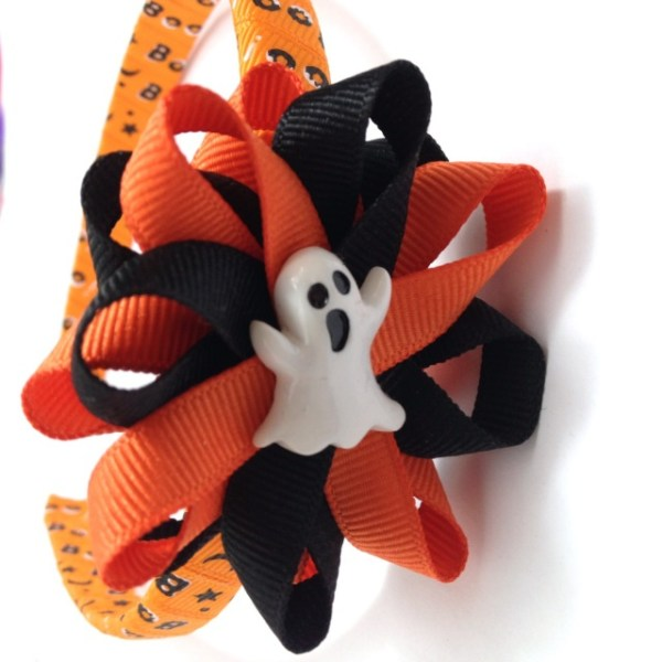 tangerine Ghost Hair Bow Headband