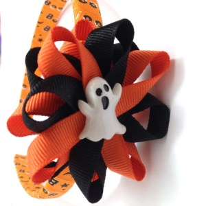tangerine Ghost Hair Bow Headband