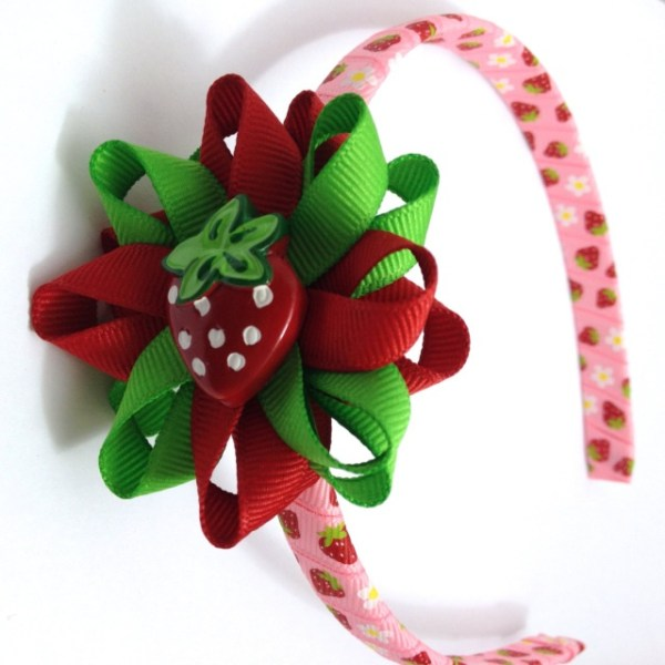 Strawberry Hair Bow Headband
