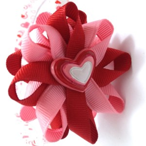 Valentines Day hearts hair bow headband