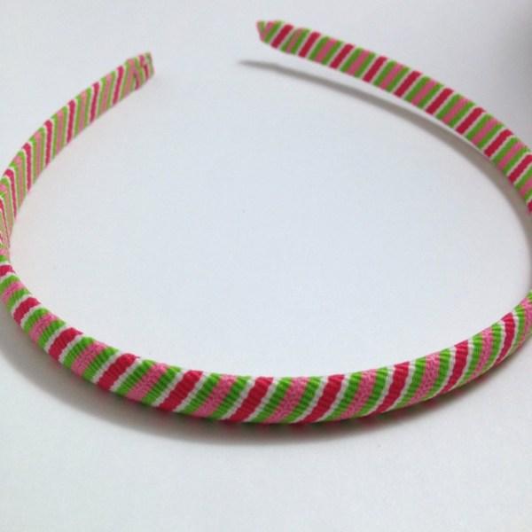 Pink, Green Stripes Headband