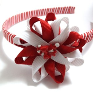 Candy Cane Hair Bow Headband