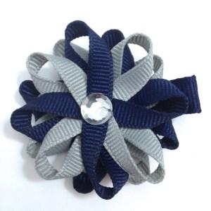Navy Blue Millennium Silver Hair Bows