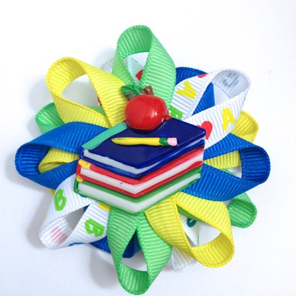School Books loopy Hair Bows