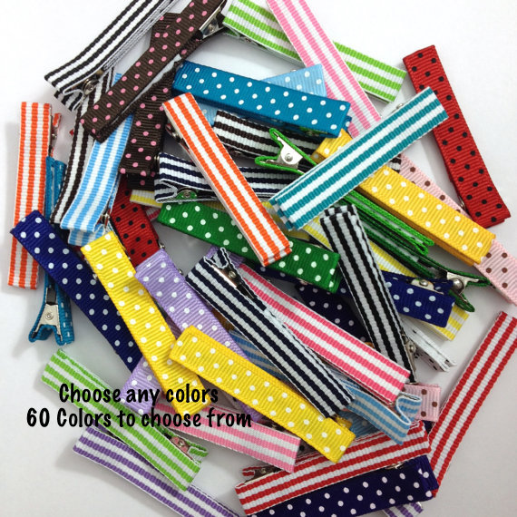 Large dots stripes Lined 57mm Alligator Clips -Dots, Stripes