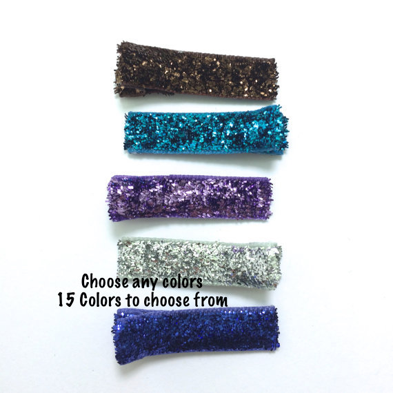 Mini Glitter Lined Alligator Clips 35mm