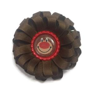 brown christmas bear bottle cap hair bow