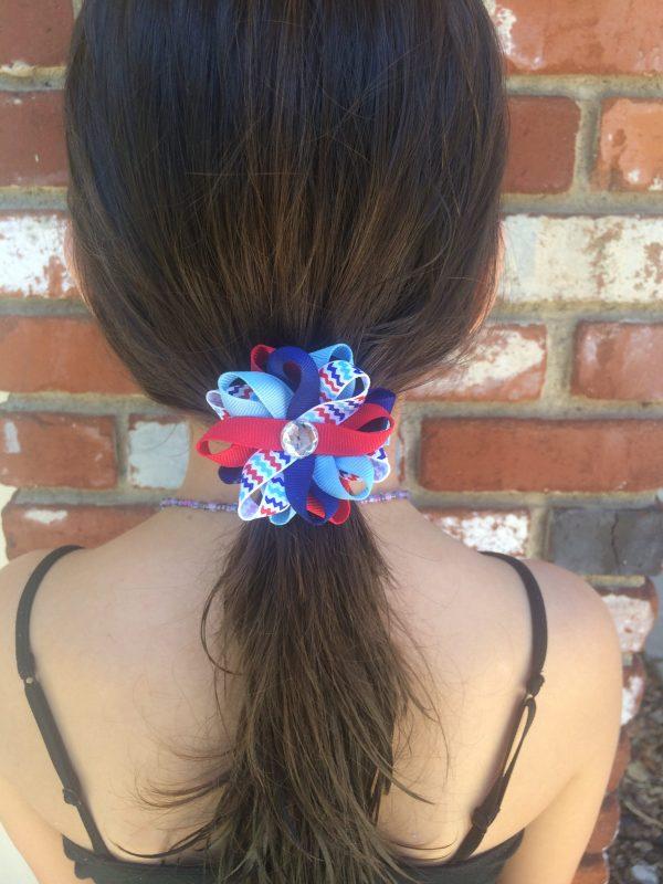 July 4th chevron stripe hair bow