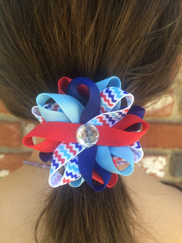 July 4th chevron stripe hair bow