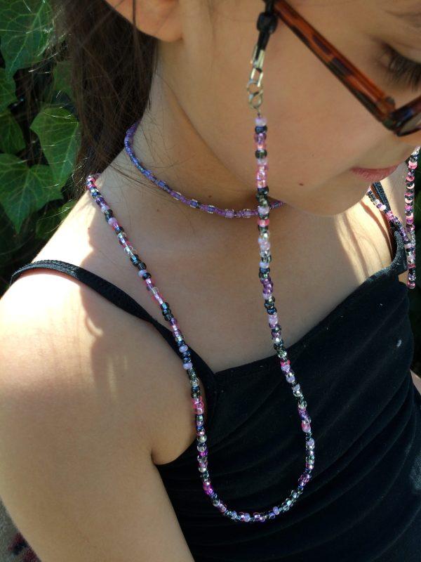 Pink Purple Black Beaded Eyeglass Holder