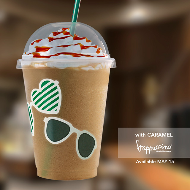 starbucks reusable cups promo with caramel frappuccino