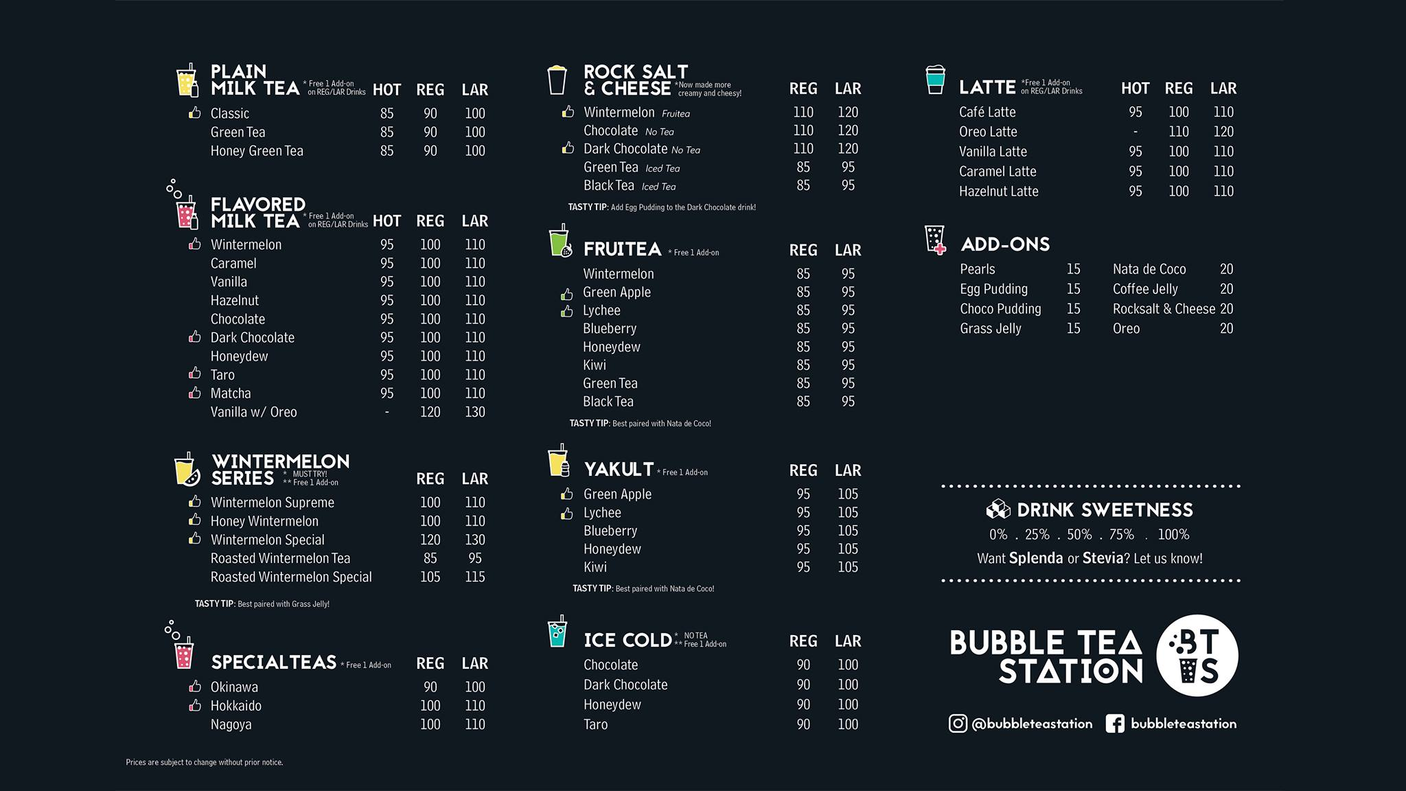 Bubble Tea Station Menu BTS