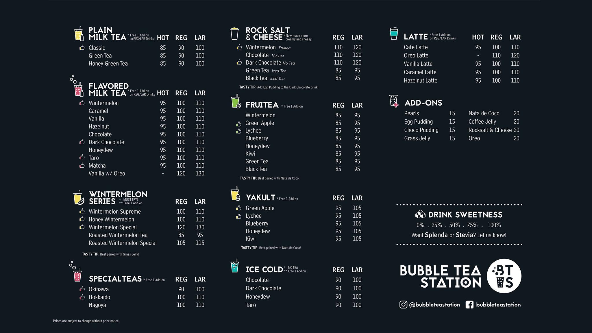 Bubble Tea Station Menu BTS