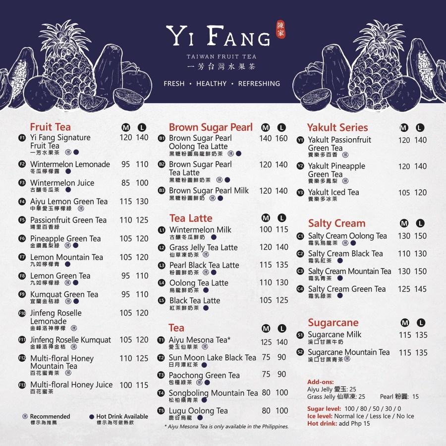Yi Fang Menu