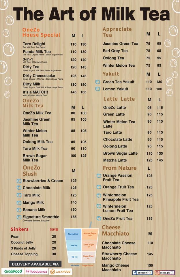 one zo tapioca menu