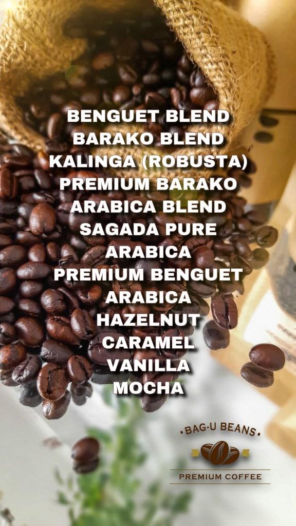 Bag-U Beans Premium Coffee Menu PH