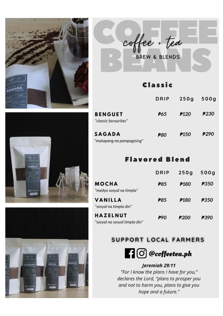 Coffee Tea - Brew & Blends Coffee Beans Menu