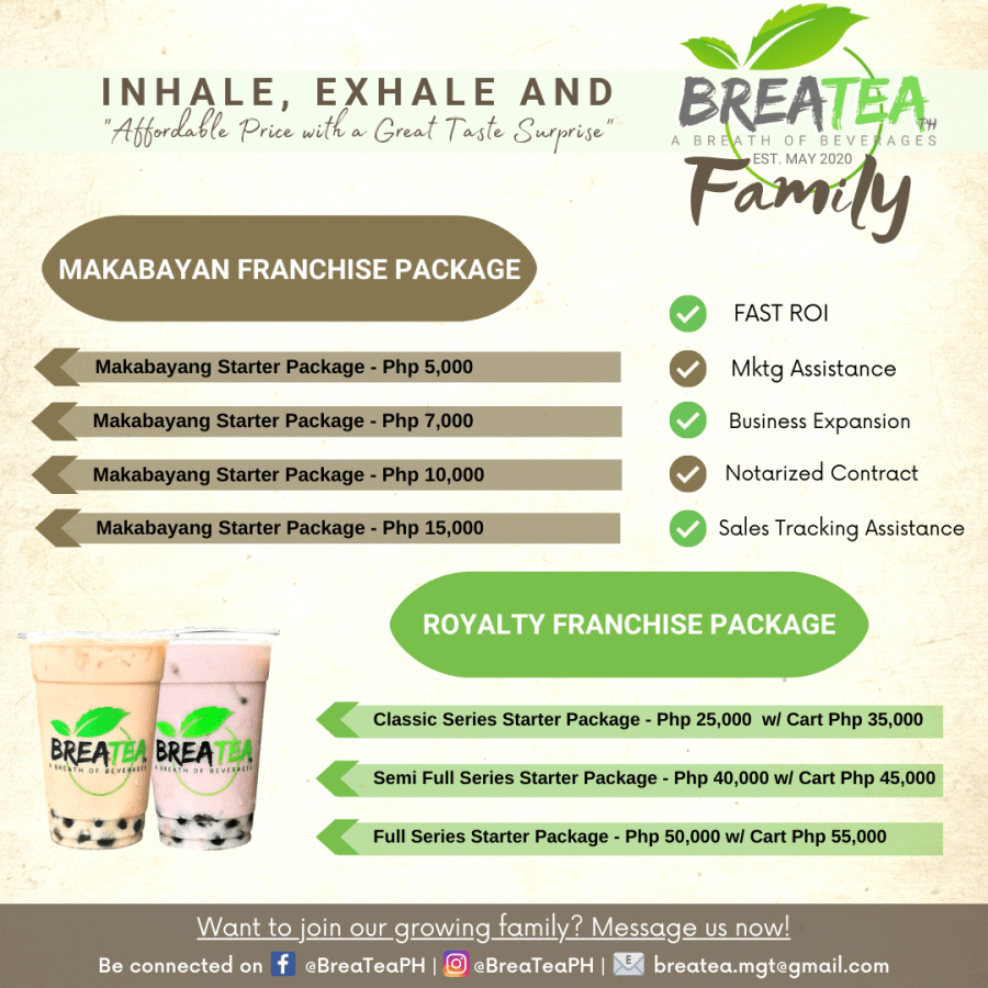 BreaTea Philippines All In Milk Tea Franchise Packages