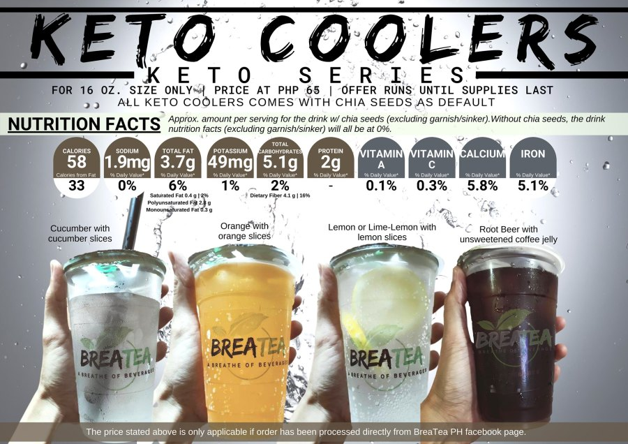 Breatea PH Menu Milk Tea Keto Coolers