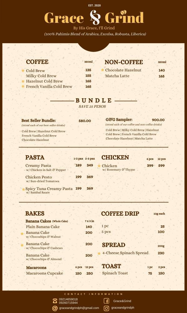 Grace and Grind New Menu