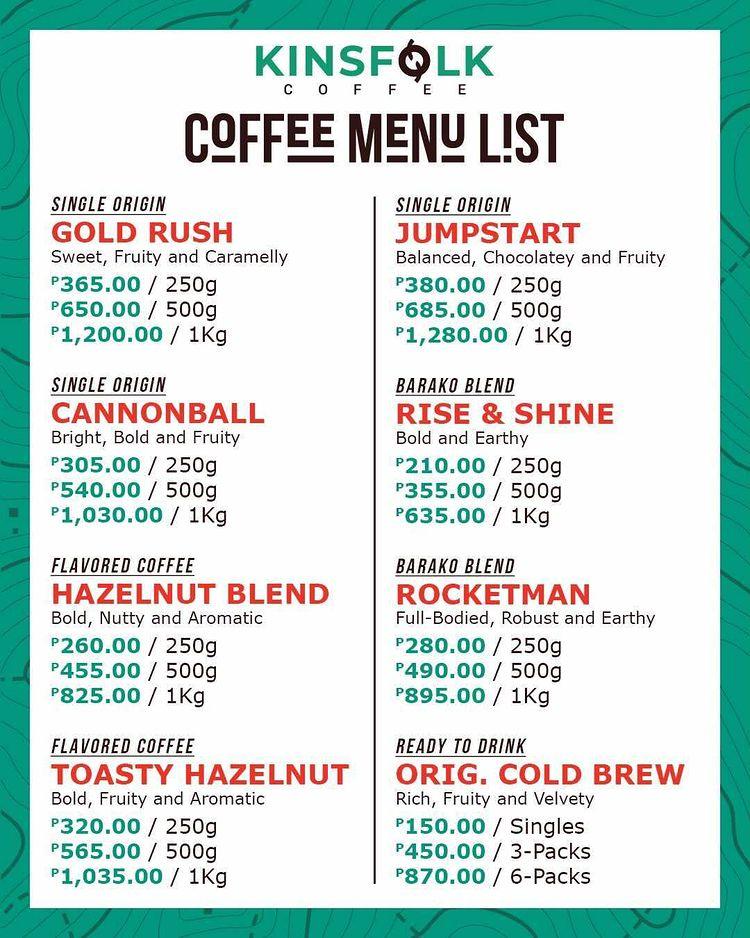 Kinsfolk Coffee Menu List