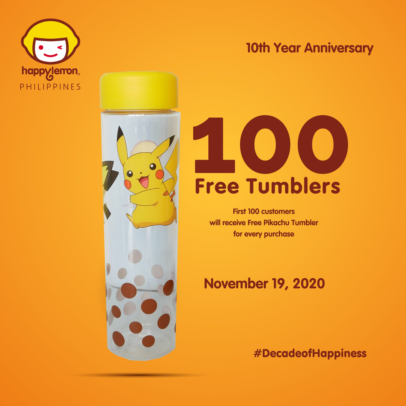 Happy Lemon Pikachu Tumbler