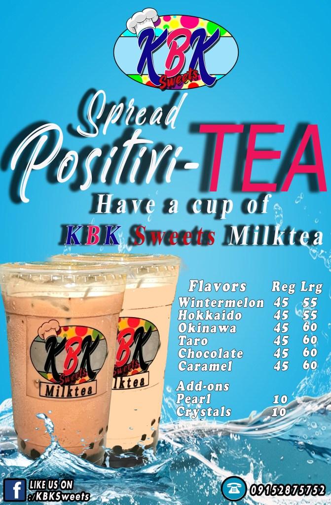 KBK Sweets Milktea Menu