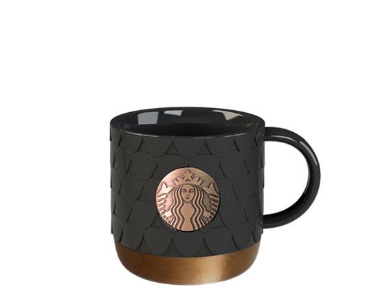 Starbucks 14oz Scale Badge Black Copper Mug
