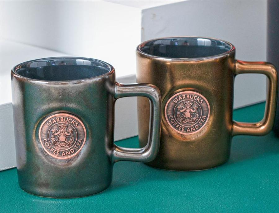 Starbucks 3oz Badge Black Copper Mug Set