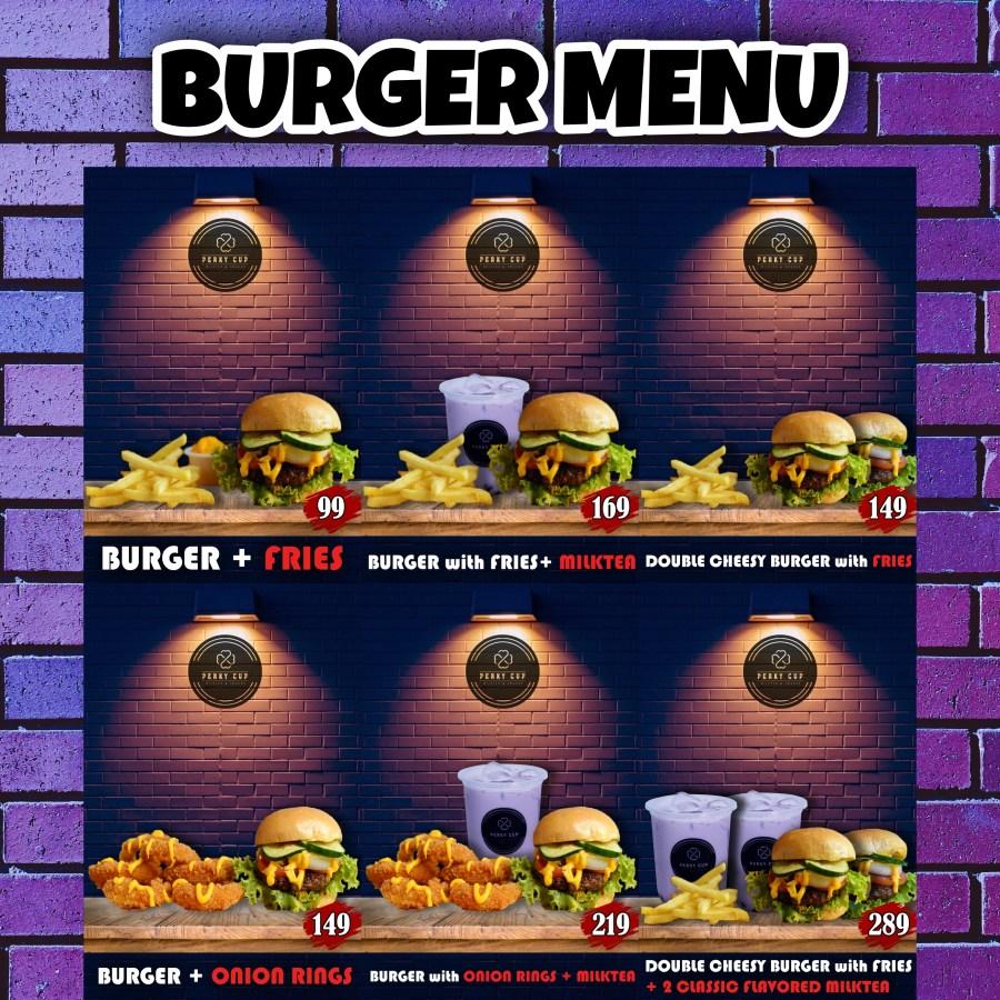 Perky Cup Burger Menu