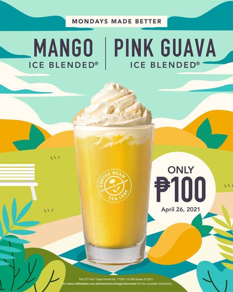 Coffee Bean & Tea Leaf Monday Promo P100 Mango Ice Blended - April 26 2021