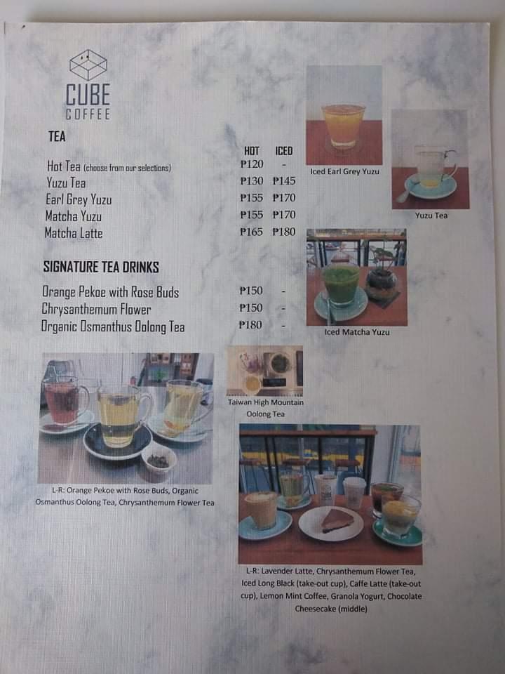 Cube Coffee Tea Menu