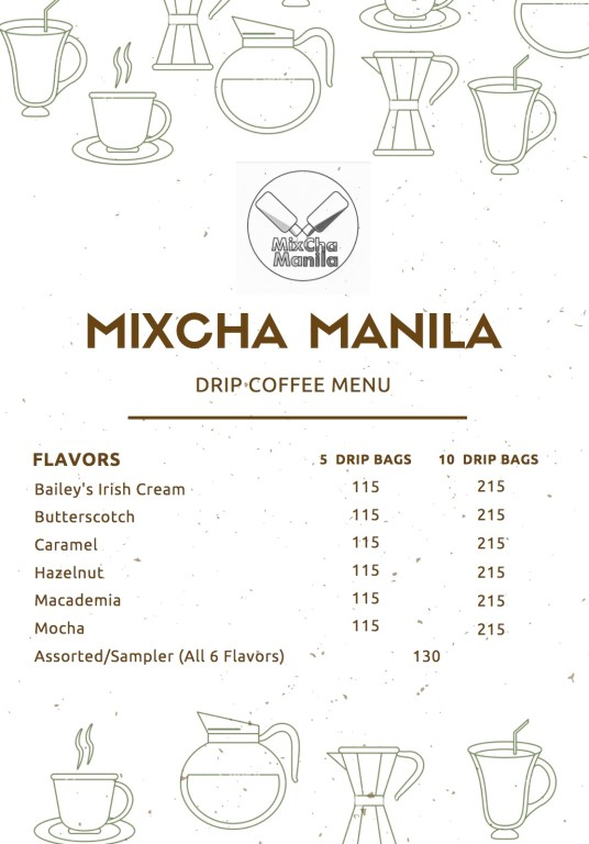 MixCha Manila Menu
